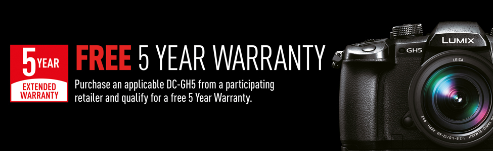 Free 5 year extended warranty when you purchase a Lumic GH5 between 12/07/17 and 04/09/17